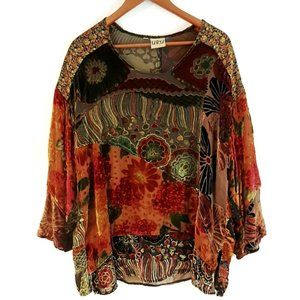 URU Silk Burnout Velvet Tunic Top Earthy Tones XL
